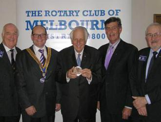 Sir Gustav Nossal (centre) awarded the 2010 Monash Medal